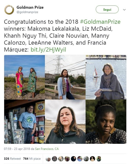 Goldman Environmental Prize 2018, premio Nobel ambiente: tweet